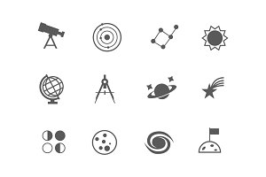 12 Astronomy and Space Icons
