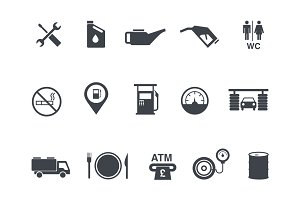 15 Gas and Petrol Station Icons