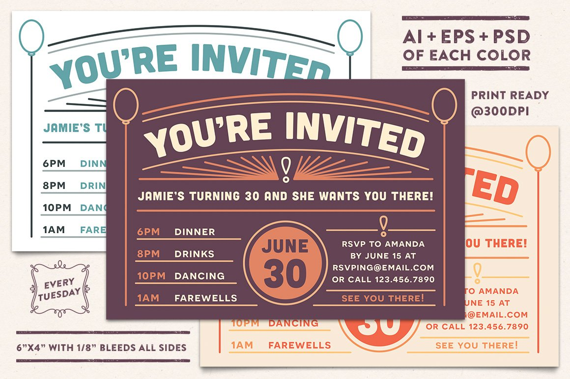 Invitation Postcard Invitation Templates Creative Market - Postcard invites templates free