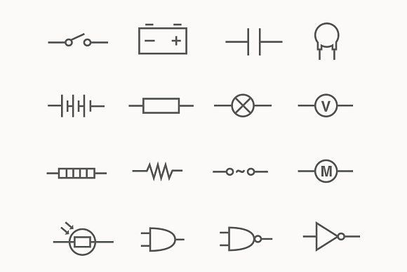 24 Electric Circuit Icons ~ Icons ~ Creative Market