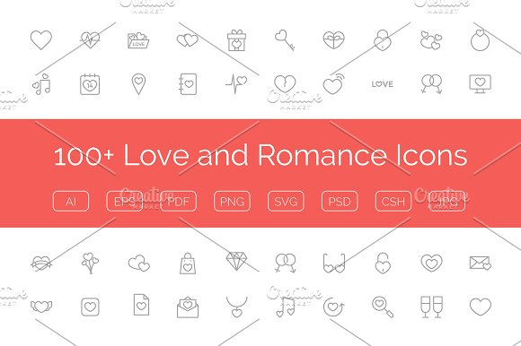 100+ Love and Romance Vector Icons