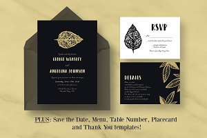 Gold Leaf Wedding Invitation Suite