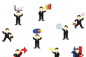 Stock Market businessman icons set