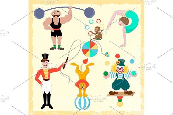Set circus theme. ~ Illustrations ~ Creative Market