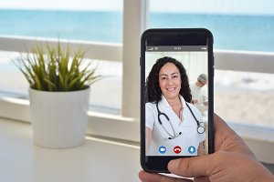 video call to talk to doctor female