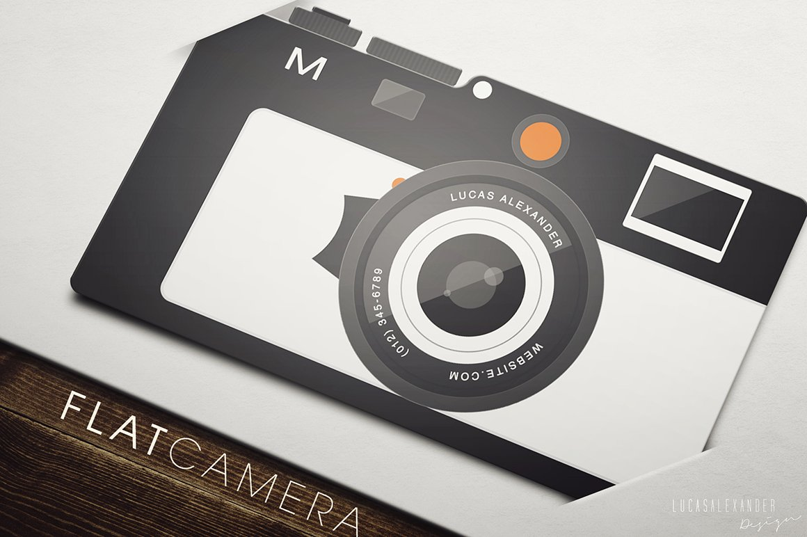 Flat Camera Business Card ~ Business Card Templates ~ Creative Market