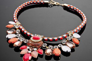 Red bracelets with reflection