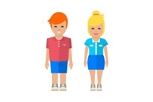 Sport man and woman illustration