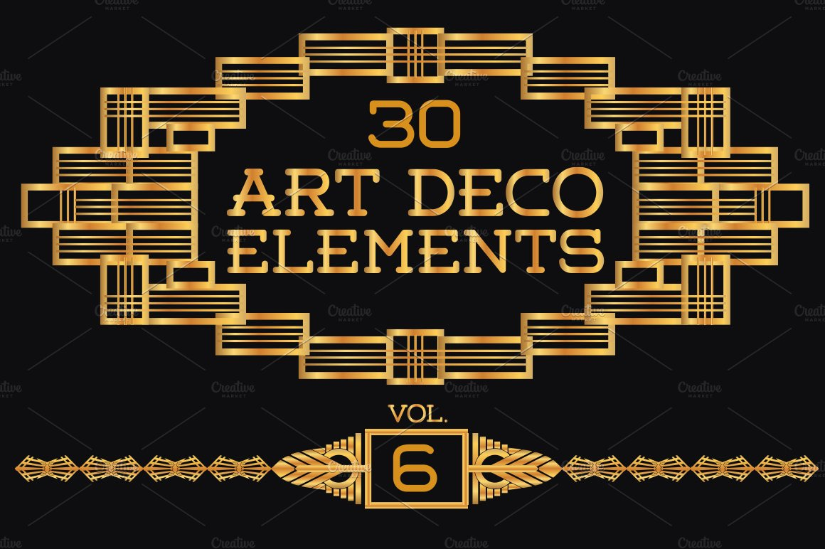 30 art deco elements vol6 illustrations creative market - Art deco design elements ...