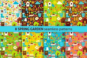 Spring Garden Flat Seamless Patterns