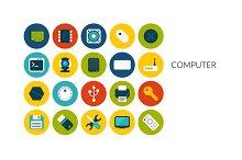Flat icons set - Computer