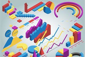 Isometric information graphics set