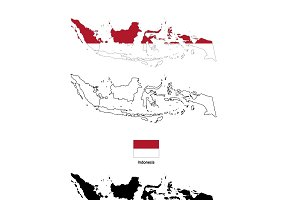 Indonesia country silhouettes