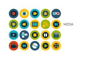 Flat icons set - Media