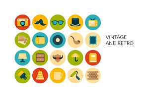 Flat icons set - Vintage and Retro