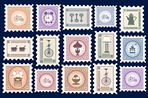 Retro postage stamps