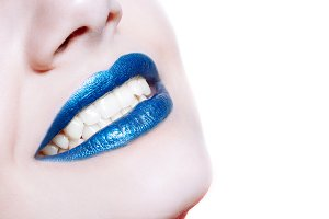lips with glossy blue lipstick