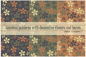 15 Patterns with flowers and leaves