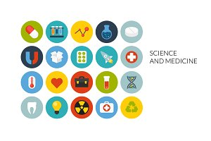 Flat icons set - Science & Medicine