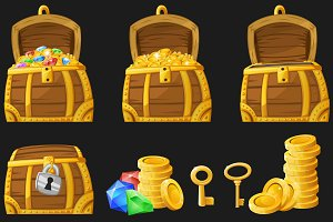 Set of treasures for 2d games