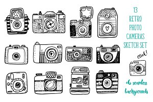 Hand drawn camera set +patterns