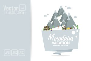 Ski Resort Polygonal Badges