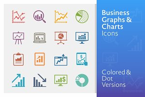 Colored Business Graphs & Charts