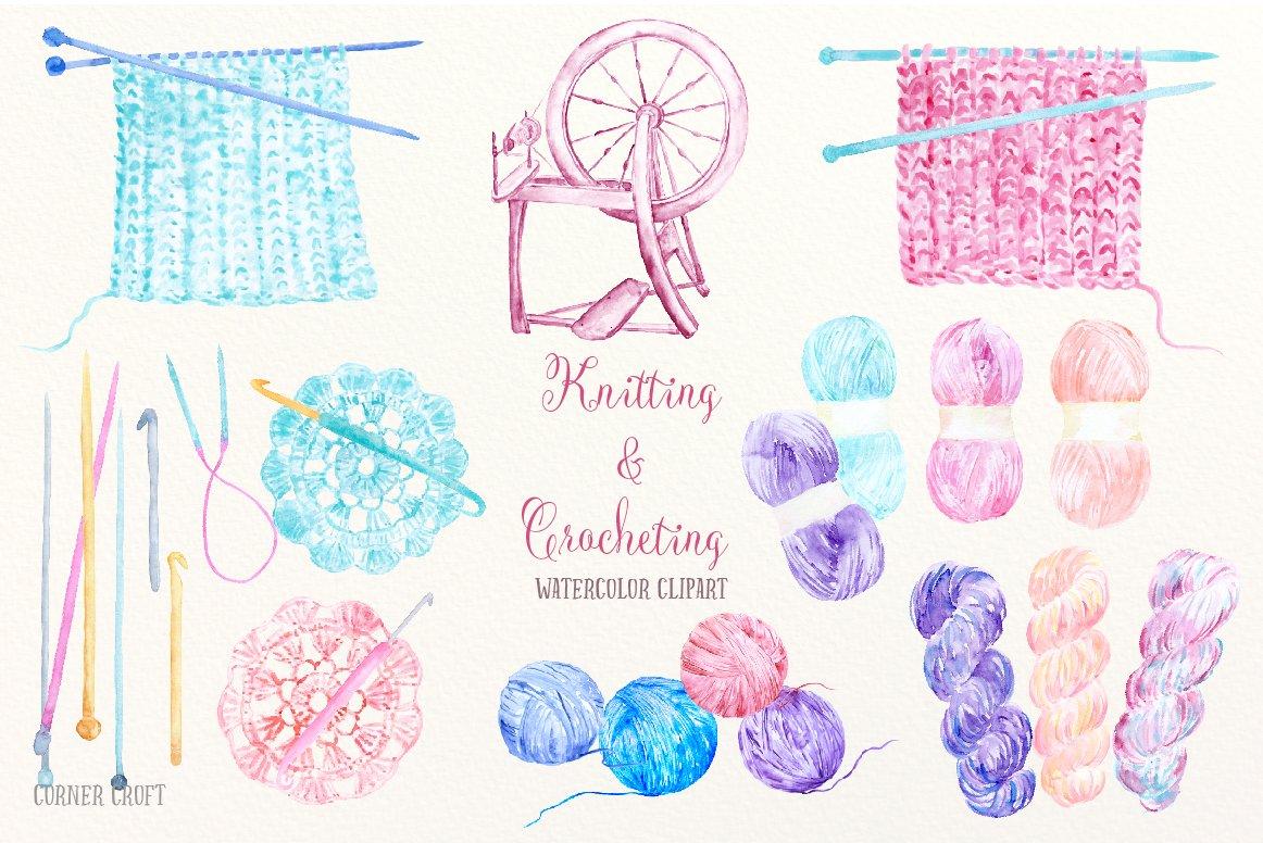 Hands Knitting Drawing : Watercolor knitting and crocheting illustrations