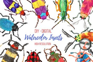 Set of Watercolor Whimsical Insects