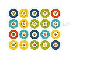 Flat icons set - Sushi