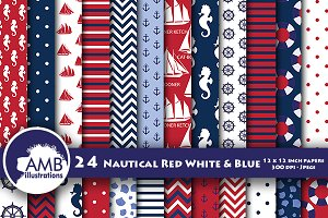Deep nautical digital papers AMB-112