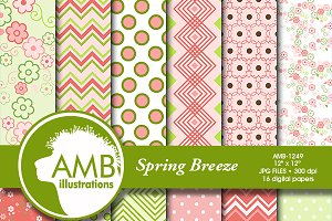 Spring Green Digital Papers AMB-1249