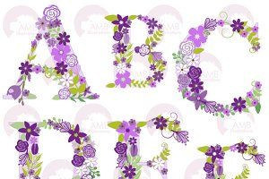 Purple Floral Letters AtoF, AMB-1218