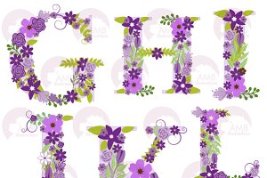 Purple Floral Letters GtoL, AMB-1218