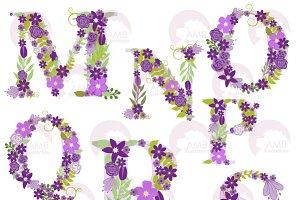 Purple Floral Letters MtoS, AMB-1218