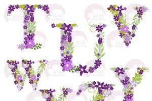 Purple Floral Letters TtoZ, AMB-1218