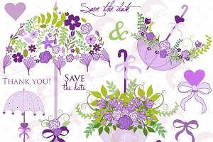 Wedding Clipart in Purple, AMB-1223