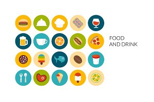 Flat icons set - Food and Drink