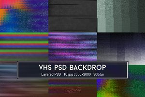 VHS Glitch PSD Backdrop