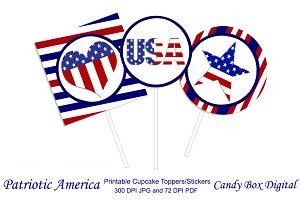 Patriotic America Cupcake Toppers