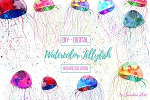 Set of Watercolor Jellyfish