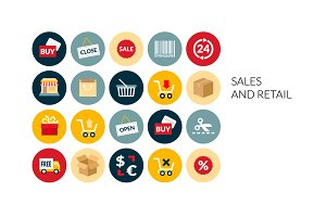 Flat icons set - Sales and Retail