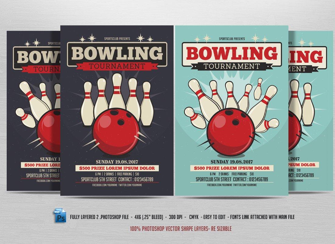 bowling tournament flyer flyer templates creative market