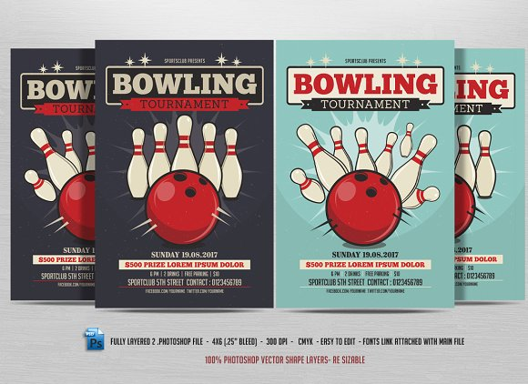 Bowling Tournament Flyer Flyer Templates Creative Market