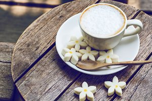 coffee and flower shape cookie