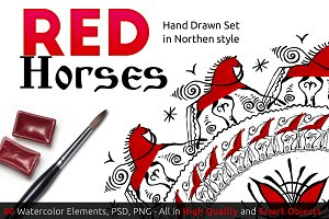 RED Horses handdrawn SET
