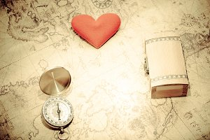 Compass and heart and treasure