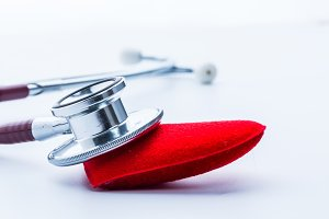 Stethoscope with red heart