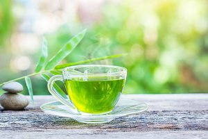 cups of green tea.