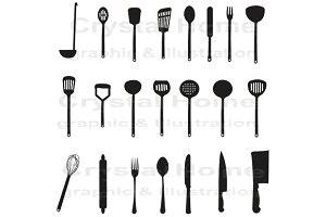 Silhouette kitchenware icon set 1